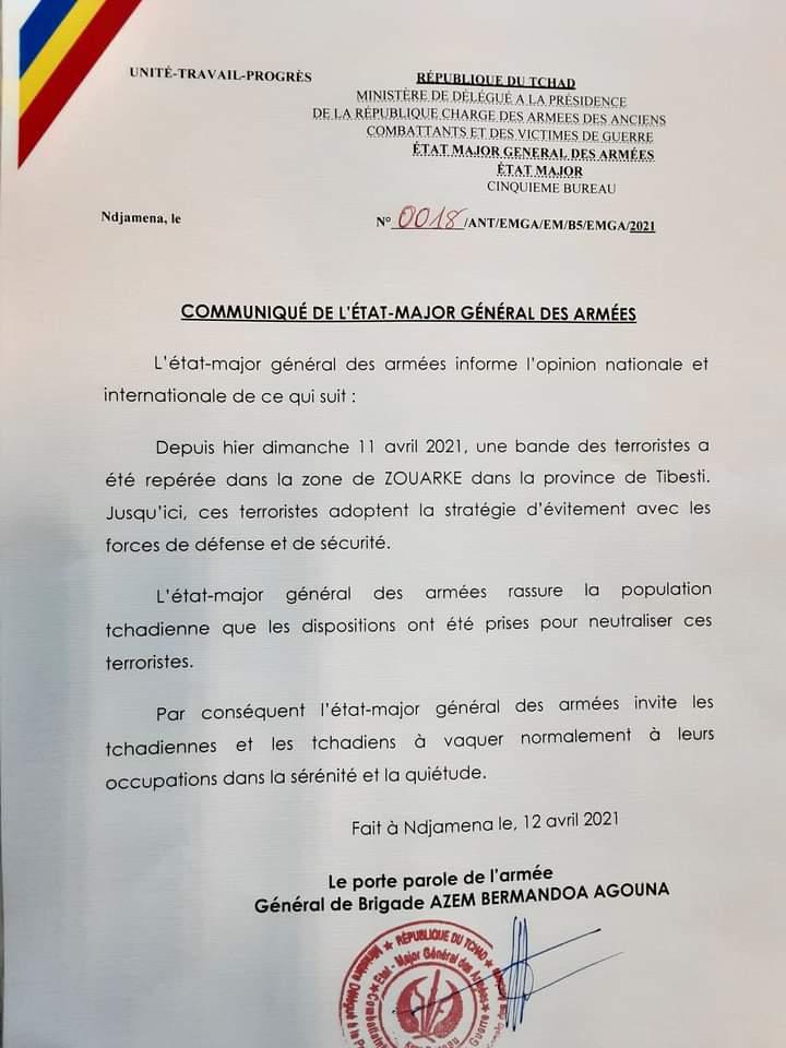"""Tchad : incursion des """" terroristes"""" a été signalée dans le Nord, selon un communiqué de l'état major de l'armée"""