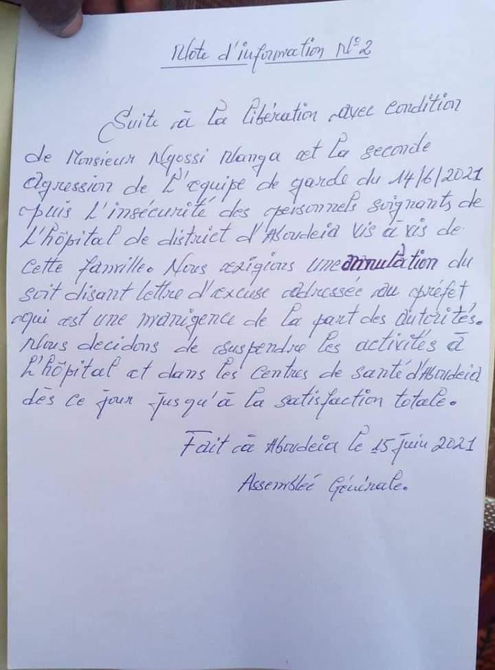 Incident entre le préfet d'Aboudeia et un infirmier : le personnel soignant entre en grève sèche et illimitée